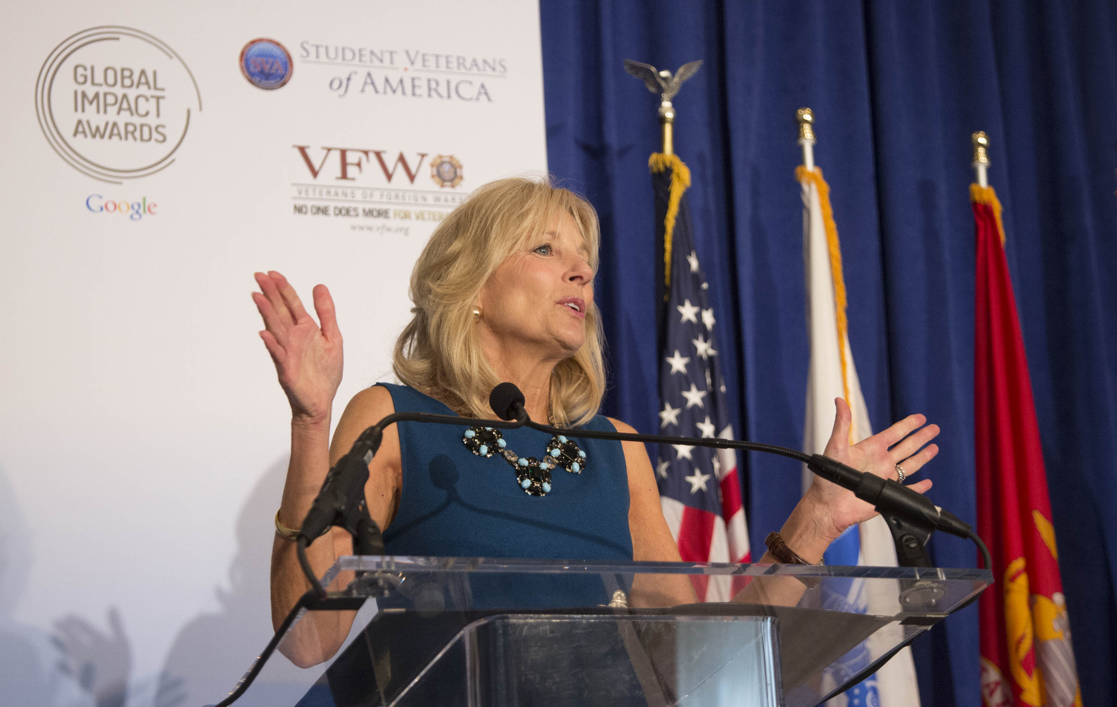 Dr. Biden delivers opening remarks at Google's veterans' higher education event, Washington, D.C., November 13, 2013
