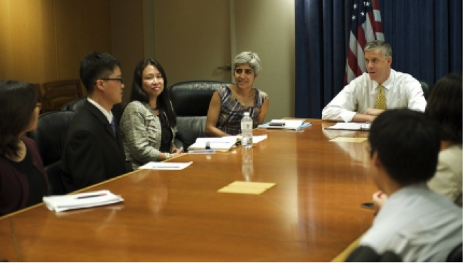 Secretary Duncan meets with DREAM Riders, a group of AAPI youth who have been granted deferred action through the Deferred Action for Childhood Arrivals (DACA) program, July 29, 2013.