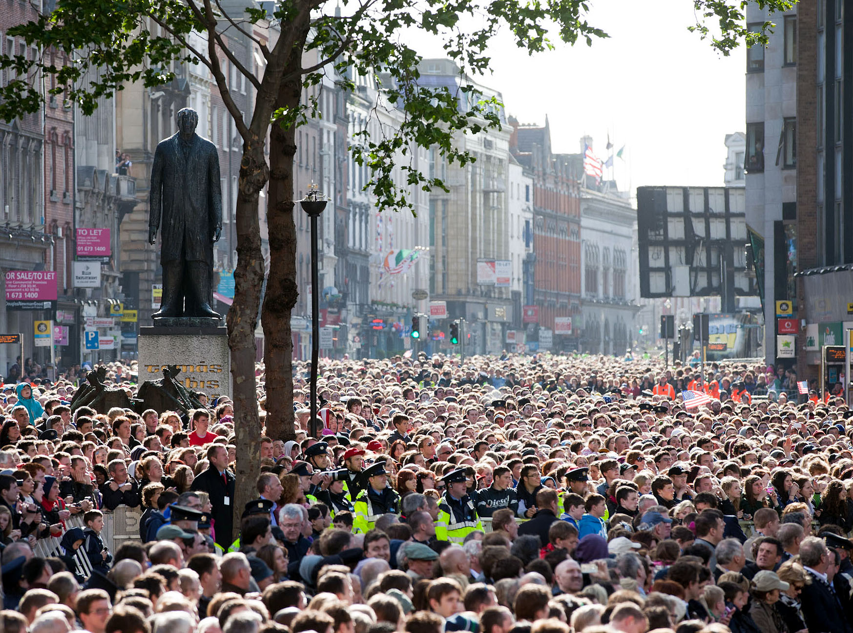 The Crowd at College Green in Dublin, Ireland, to Welcome President Barack Obama and First Lady Michelle Obama