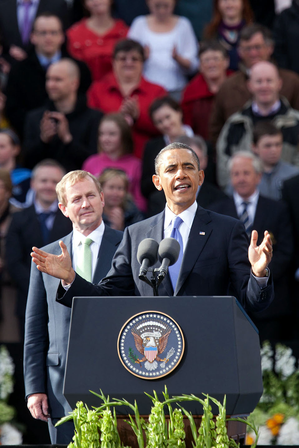 President Barack Obama Addresses a Crowd at College Green in Dublin, Ireland