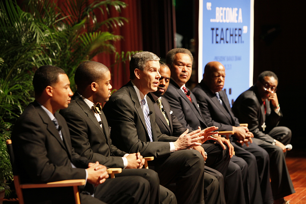 Education Secretary Arne Duncan at Morehouse College in Atlanta, Close Up