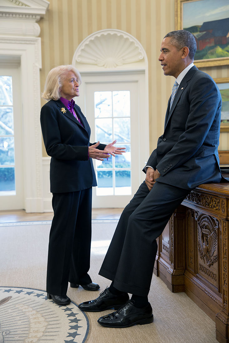 President Barack Obama meets with Edie Windsor during a drop by in the Oval Office