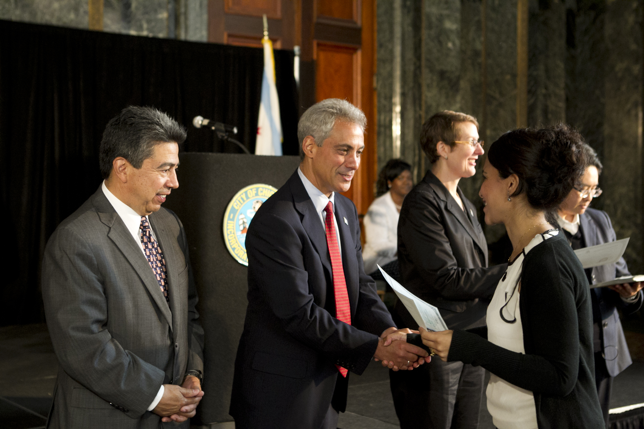 Chicago Mayor Emanuel participates in a Naturalization ceremony at the Chicago Cultural Center in Chicago, IL.