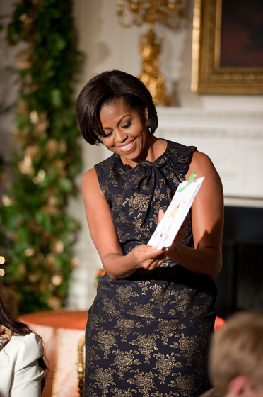 The First Lady Shows off a Holiday Card Created by a Little Visitor
