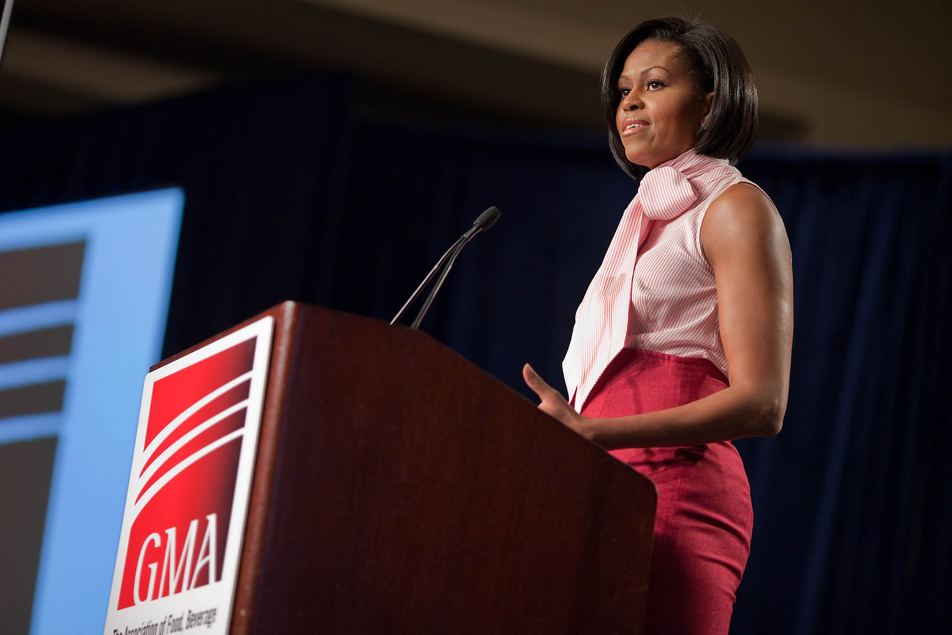 The First Lady speaks to the Grocery Manufacturers Association Conference