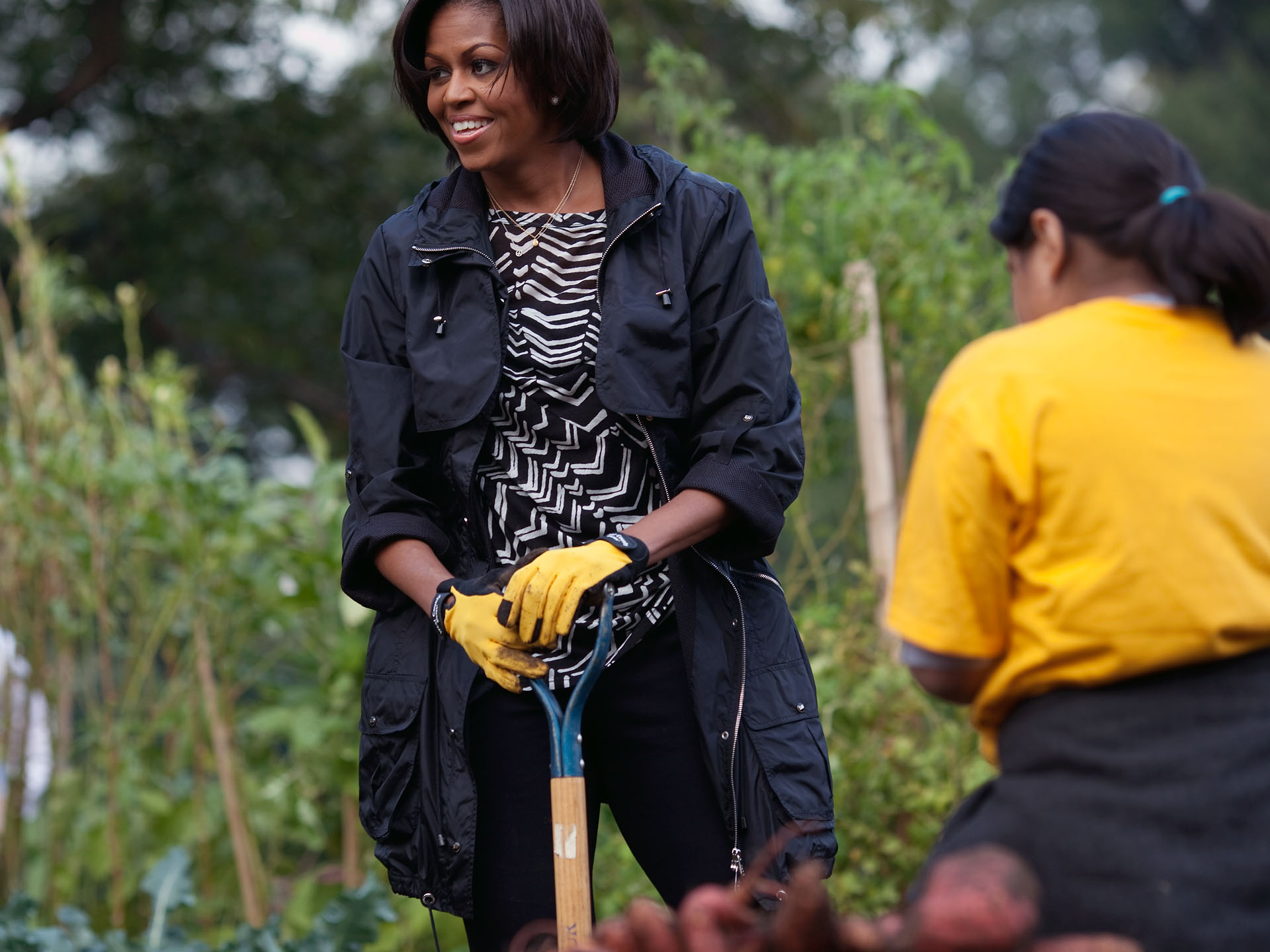The First Lady Helps Harvest the White House Garden