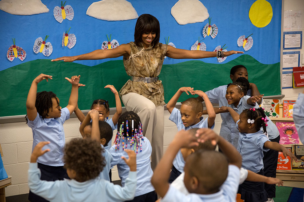 First Lady Michelle Obama plays