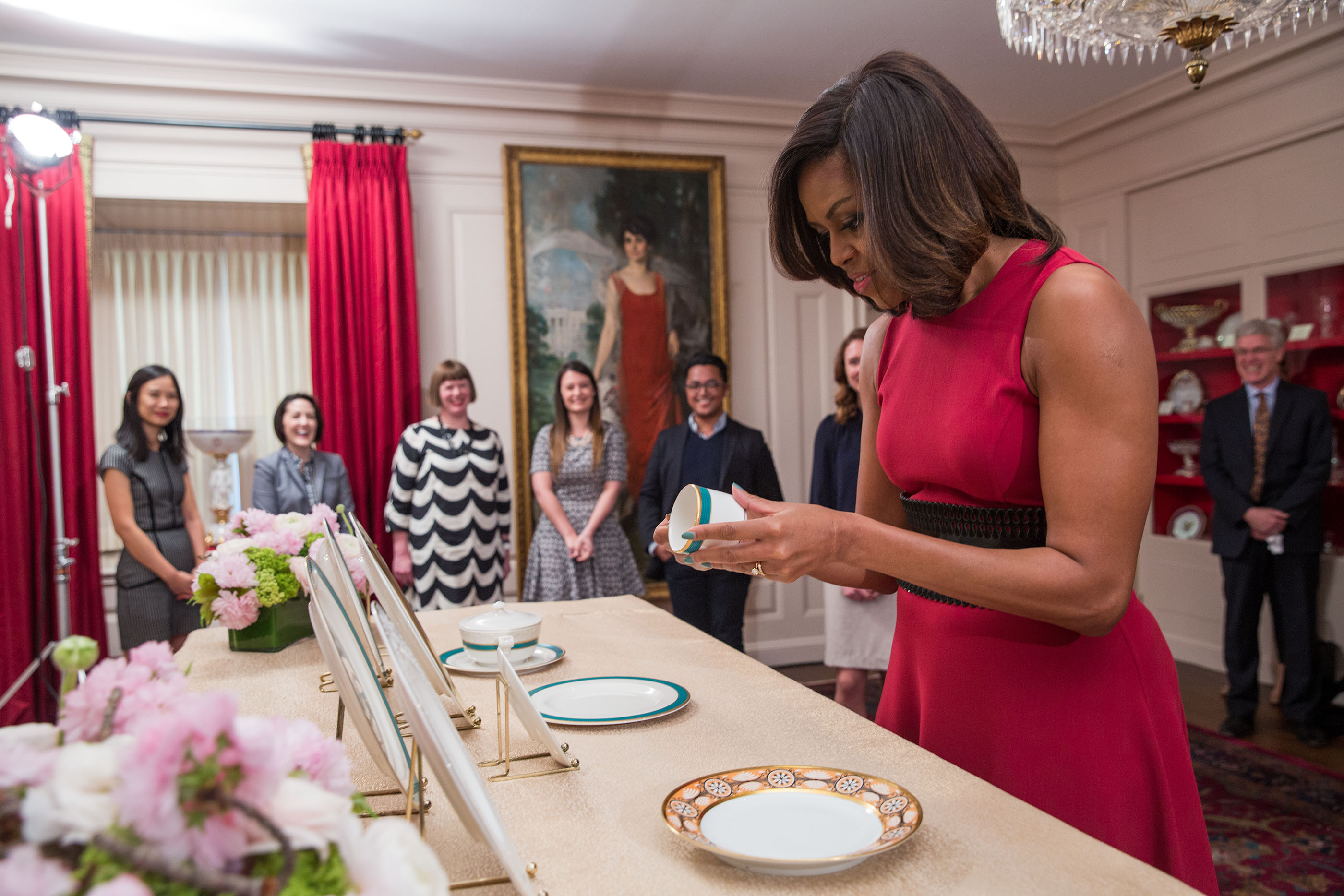 First Lady Michelle Obama previews the china patterns