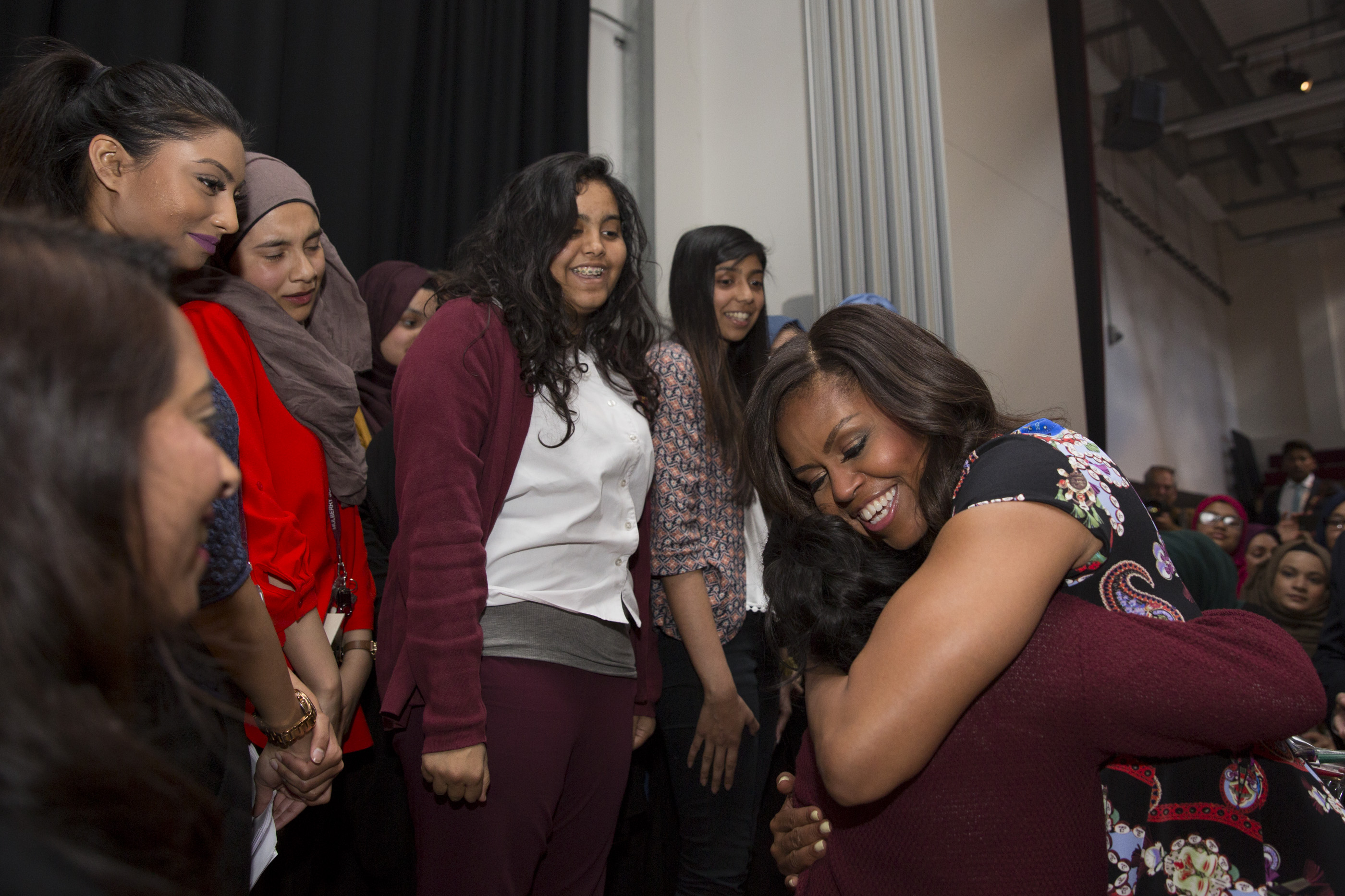 The First Lady Greets Students at the Mulberry School in London