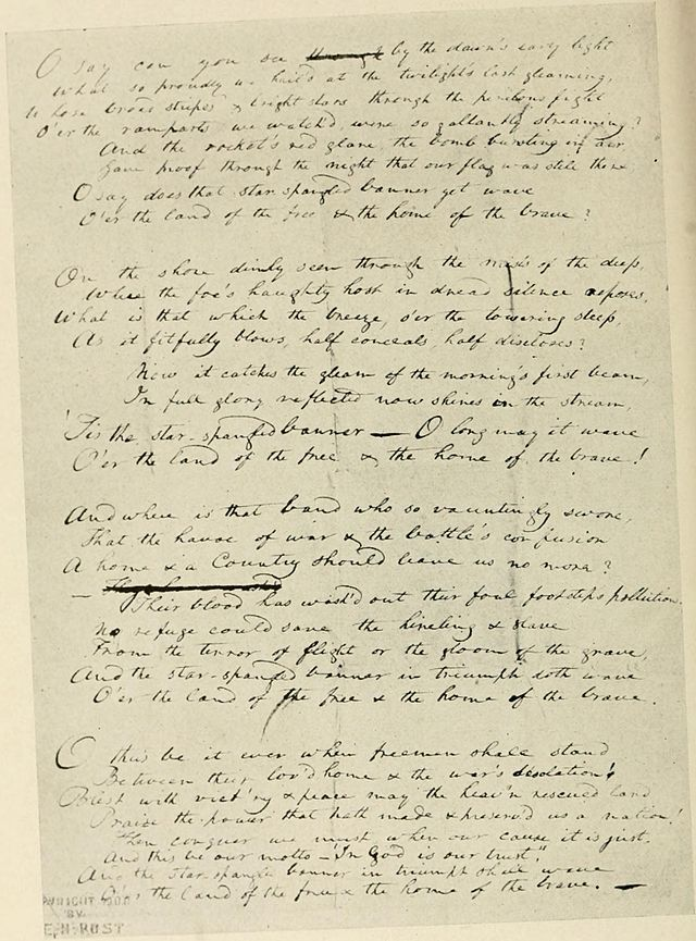 France Scott Key's original manuscript copy of