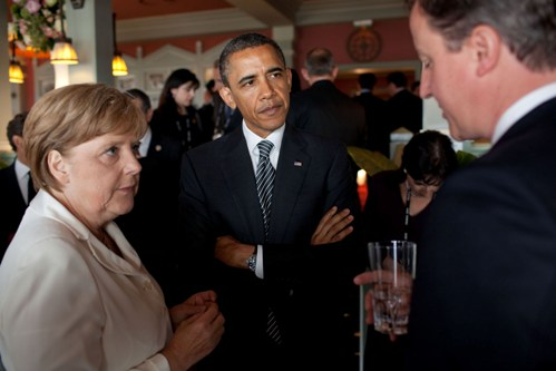President Barack Obama with Chancellor Angela Merkel and Prime Minister David Cameron