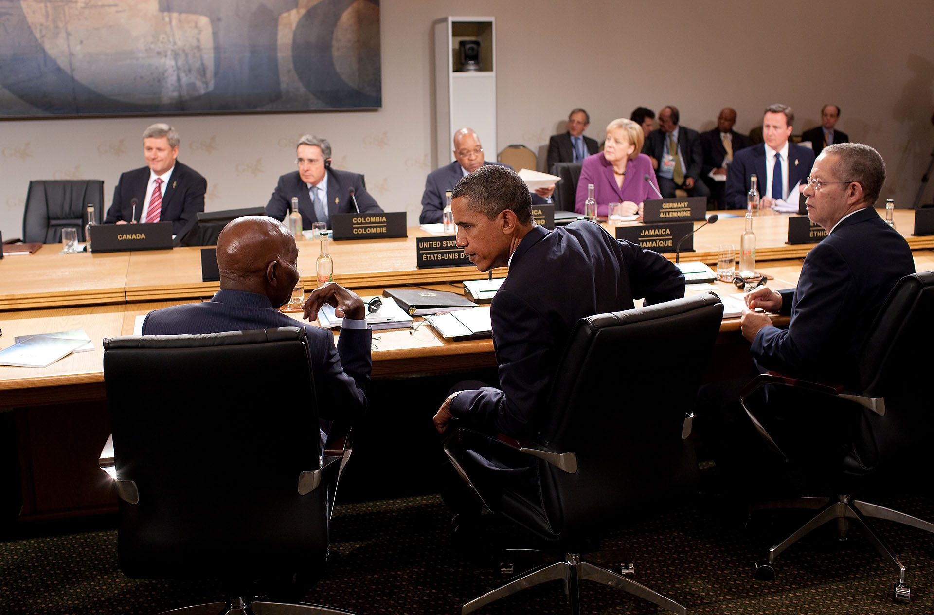 President Barack Obama Talks with President Abdoulaye Wade of Senegal at G8 Summit