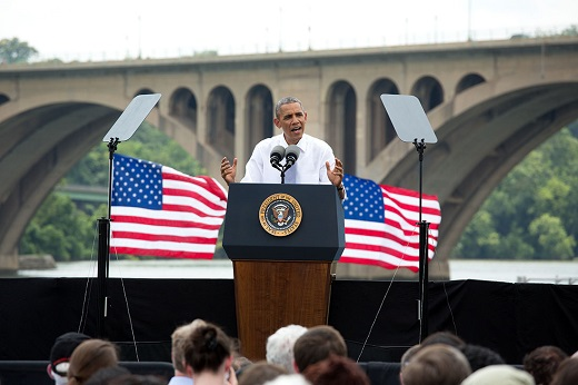 President Barack Obama delivers remarks on the economy at the Georgetown Waterfront Park