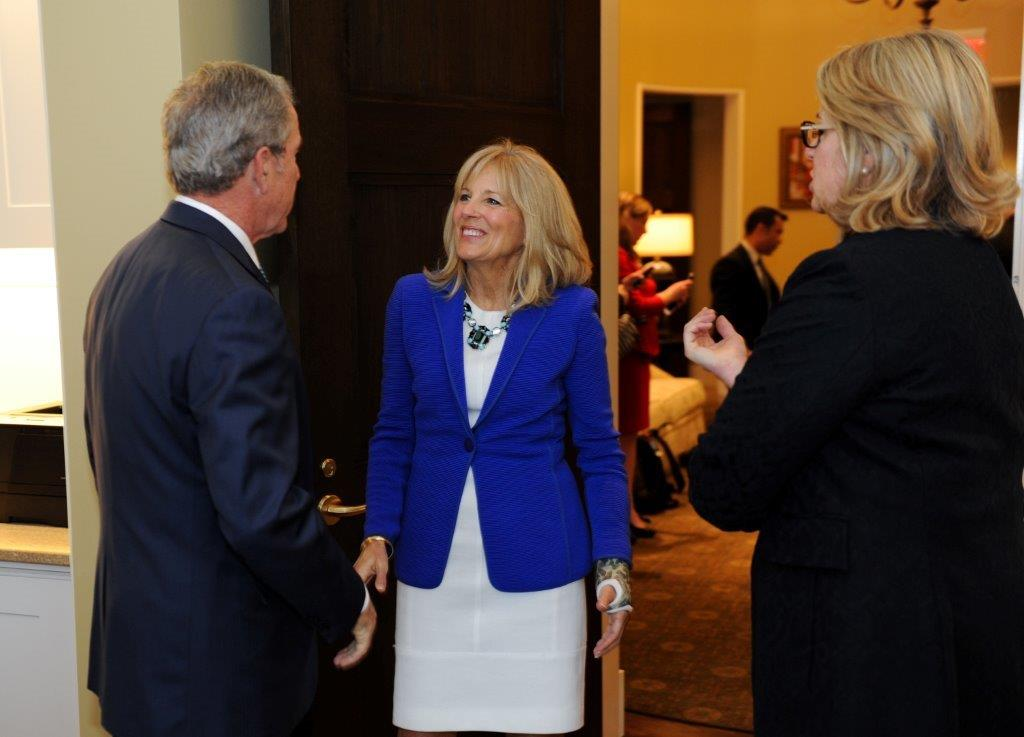 President Bush and Bush Center President Margaret Spellings welcome Dr. Biden to the Empowering Our Nation's Warriors Summit (Photo by Grant Miller)