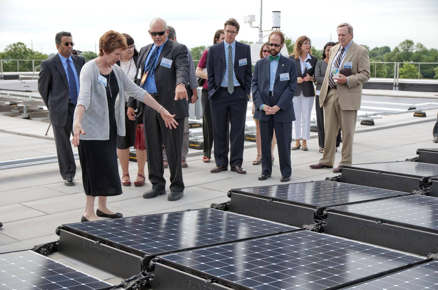 GSA Administrator Martha Johnson at the Bean Federal Center's Rooftop Solar Array