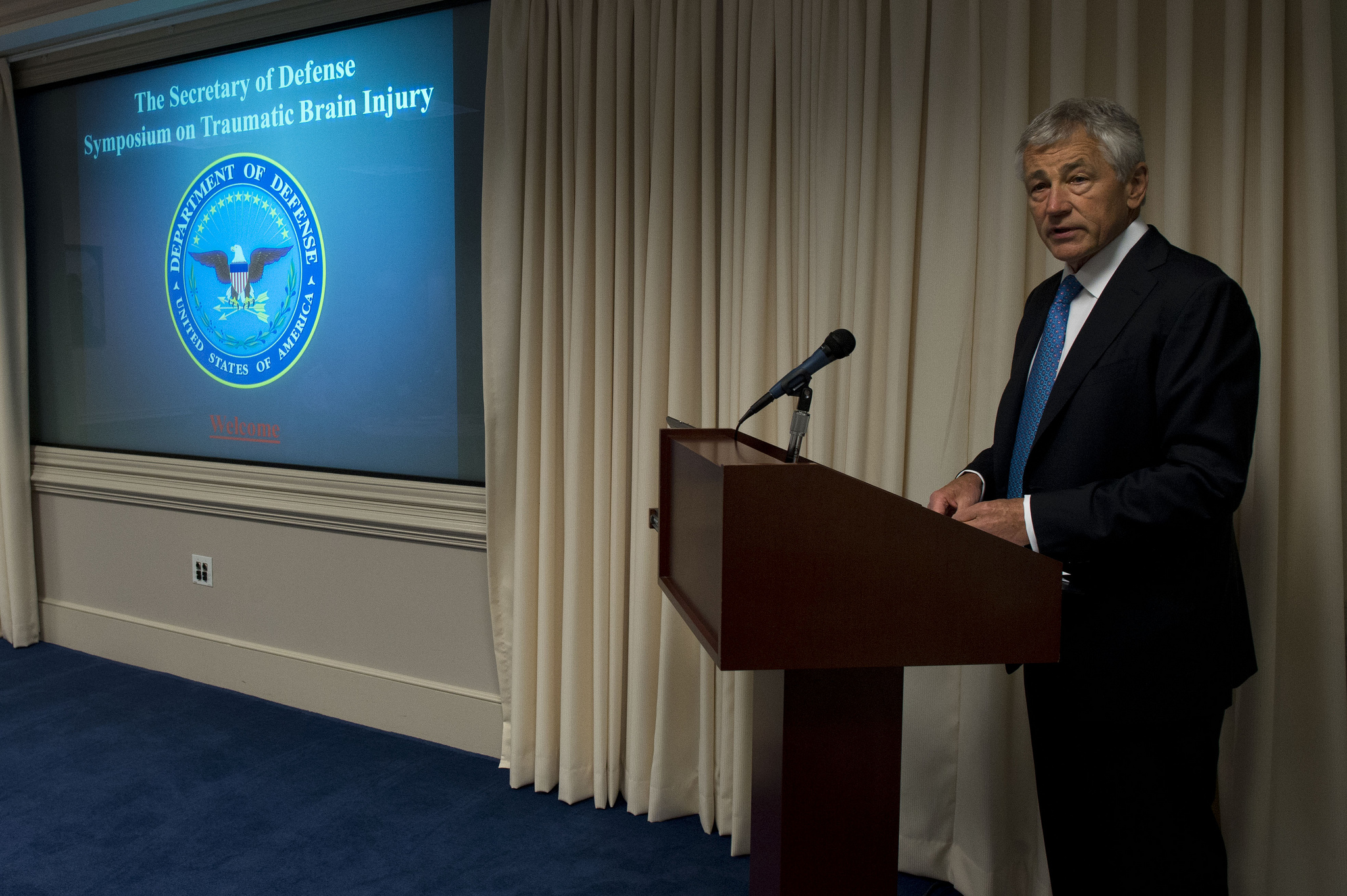 Secretary of Defense Chuck Hagel addresses experts within the brain injury community on Traumatic Brain Injury