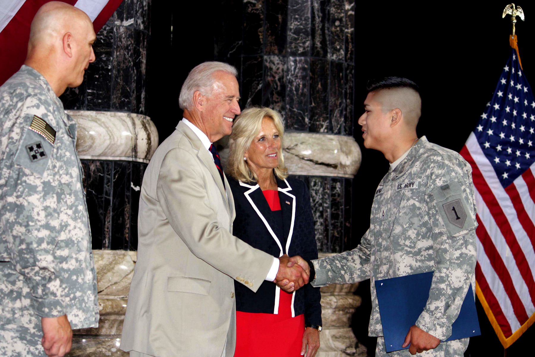 Vice President Joe Biden during a naturalization ceremony in Al Faw Palace on Camp Victory, Iraq