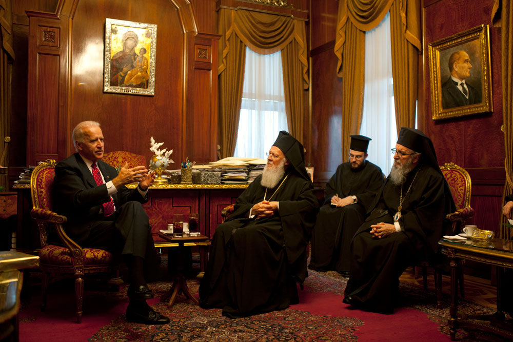 Vice President Joe Biden meets with Ecumenical Patriarch Bartholomew in Istanbul