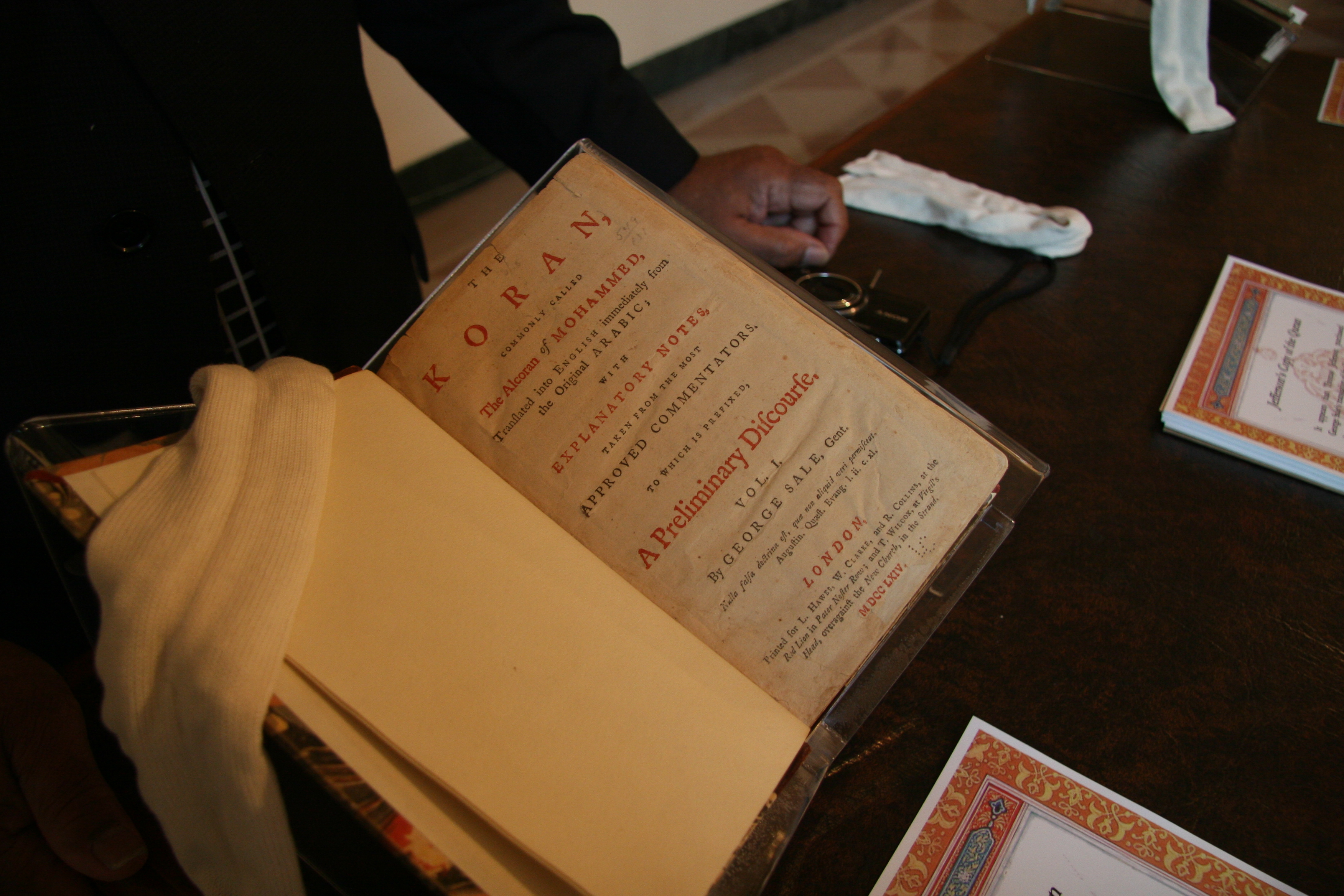 President Thomas Jefferson's copy of the Quran on display for guests attending the White House Iftar