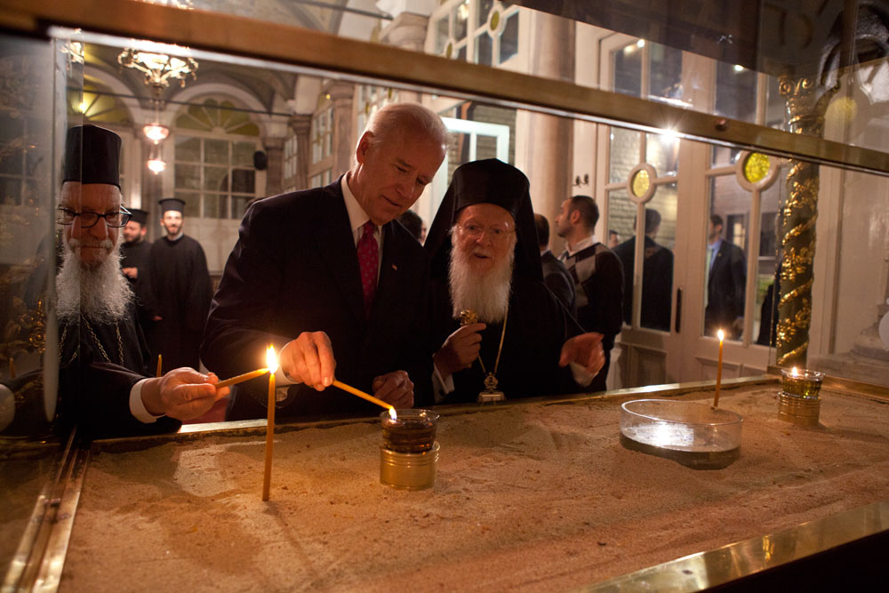 Vice President Joe Biden lights a candle  at the Church of St. George at the Ecumenical Patriarchate in Istanbul