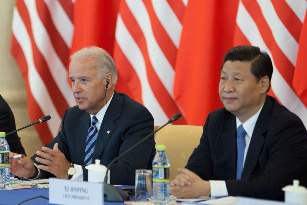 Vice President Joe Biden with Chinese Vice President Xi at the Beijing Hotel