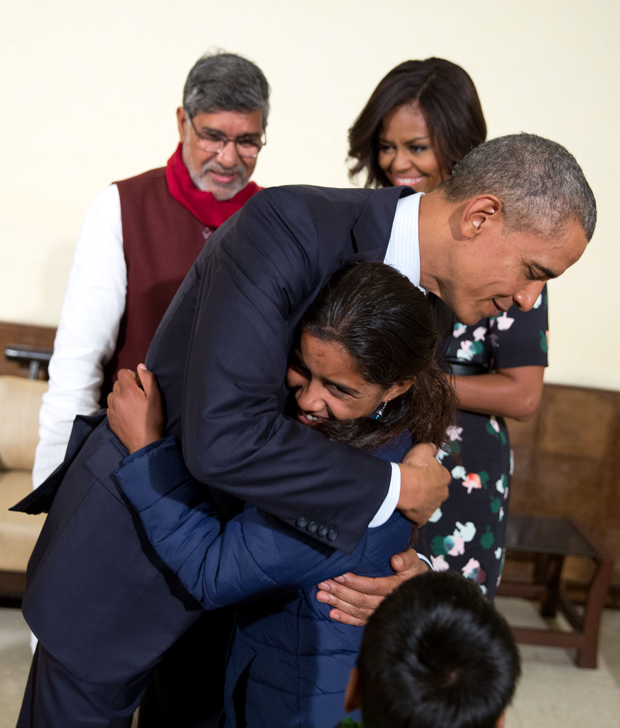 President Obama Greets a Young Girl in India
