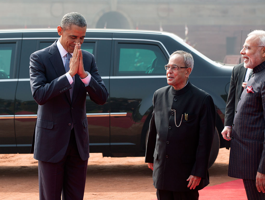 President Obama Offers Traditional Greeting in India