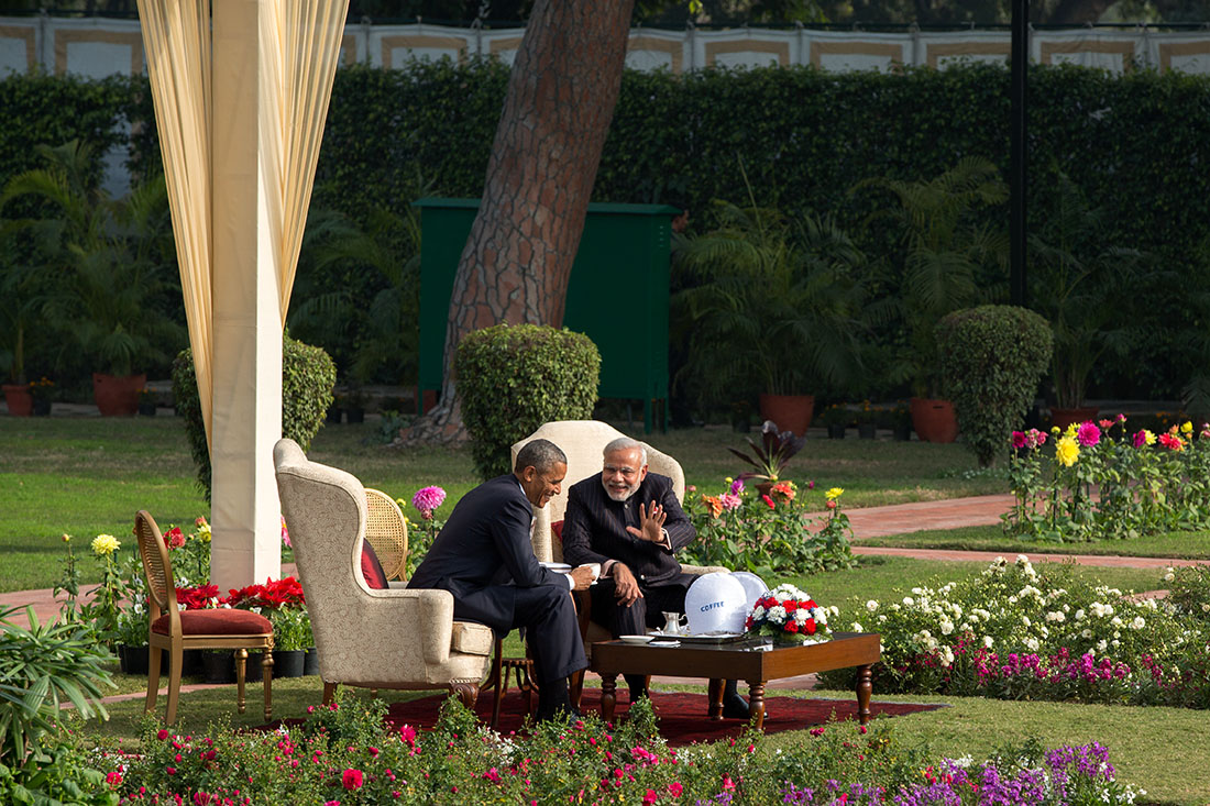 President Obama and Prime Minister Modi Chat in a Garden