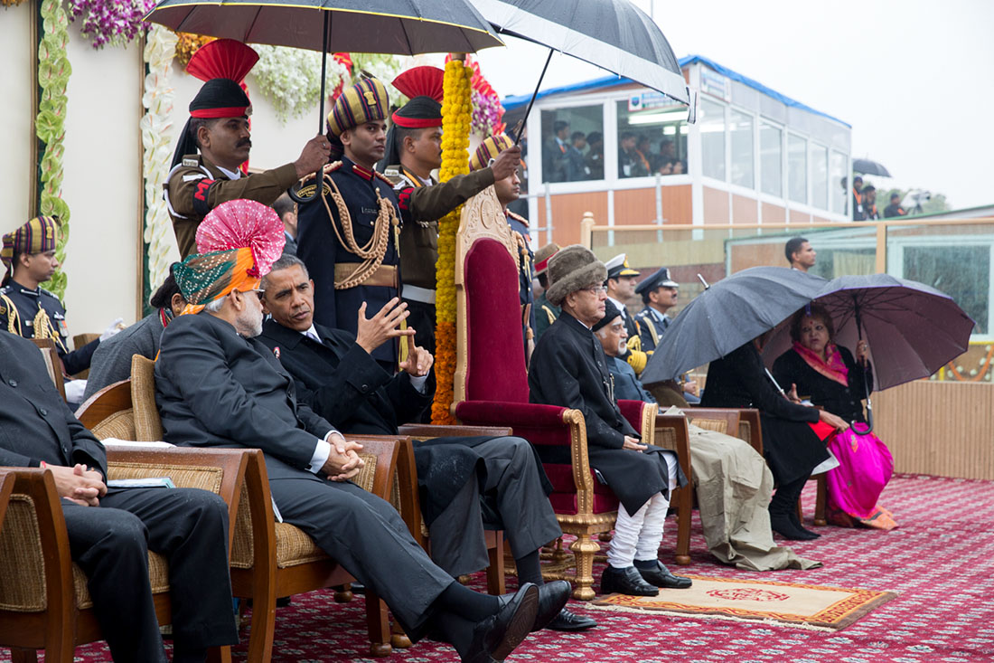President Obama and Prime Minister Modi View Parade in India