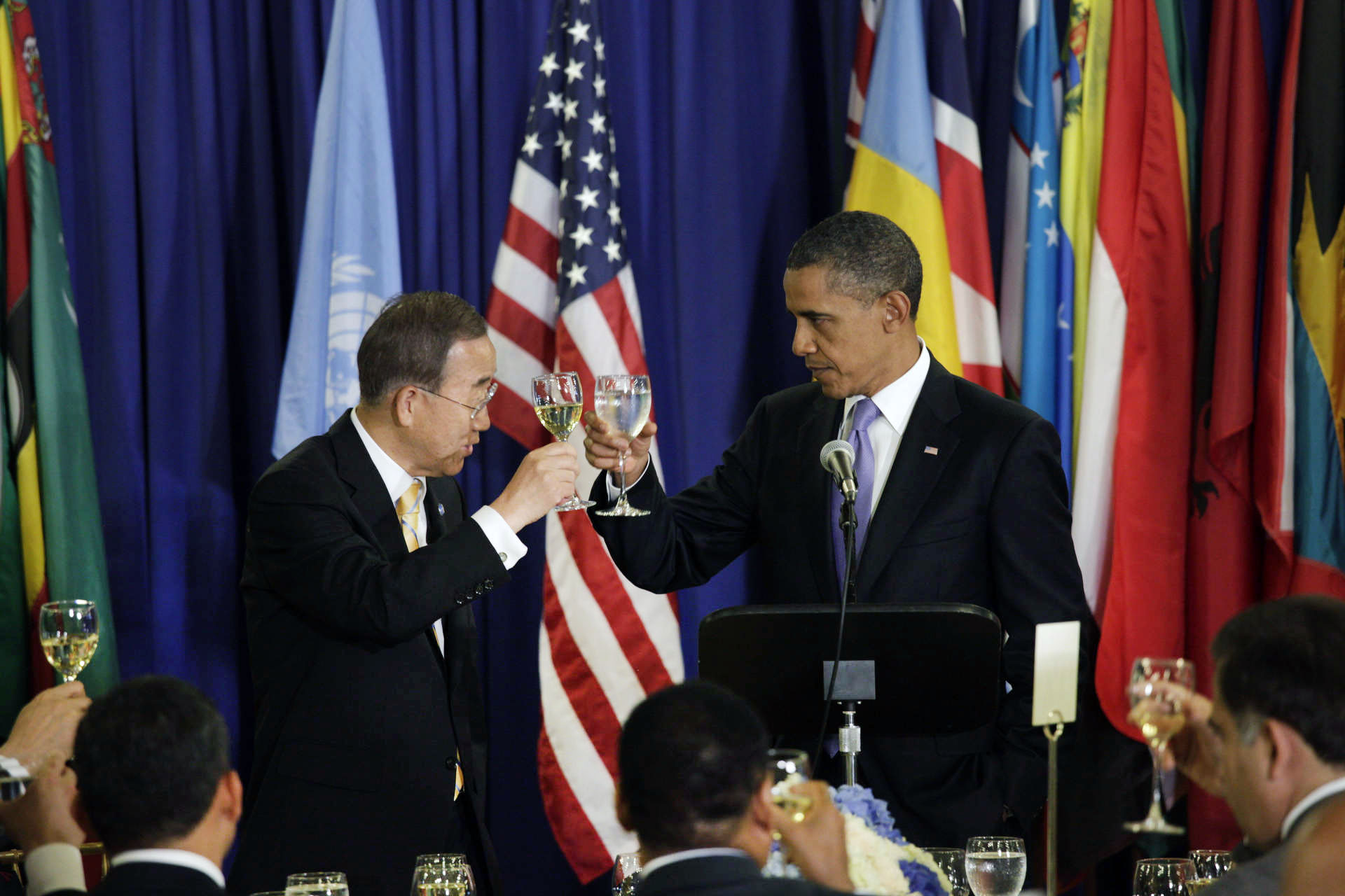 UNGA: potus toasts with Ban Ki-Moon