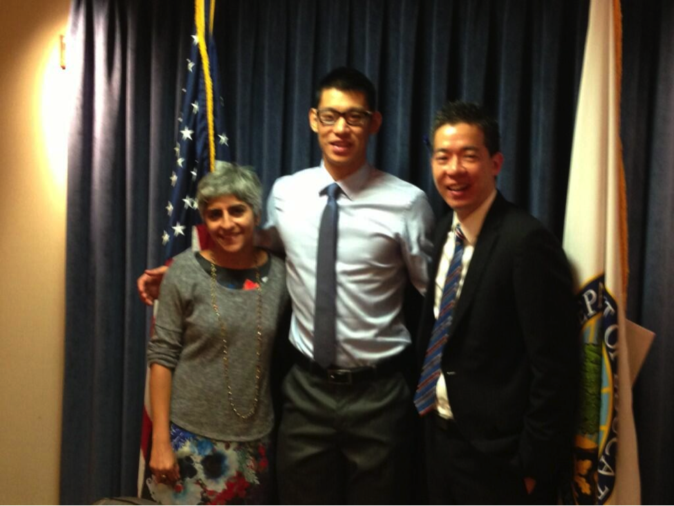 Kiran Ahuja and Don Yu from the U.S. Department of Education meet with Jeremy Lin, Aug. 1, 2013.