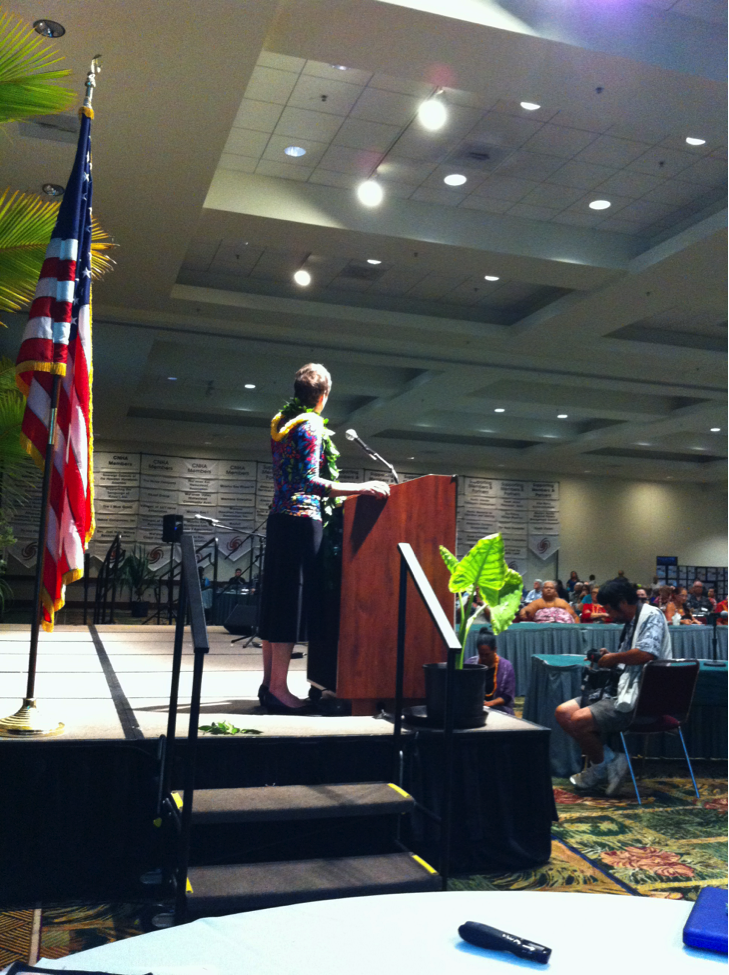 Secretary of the Interior Sally Jewell delivers the keynote address at the 12th annual Council for Native Hawaiian Advancement Convention in Honolulu, HI, Sept. 4, 2013.