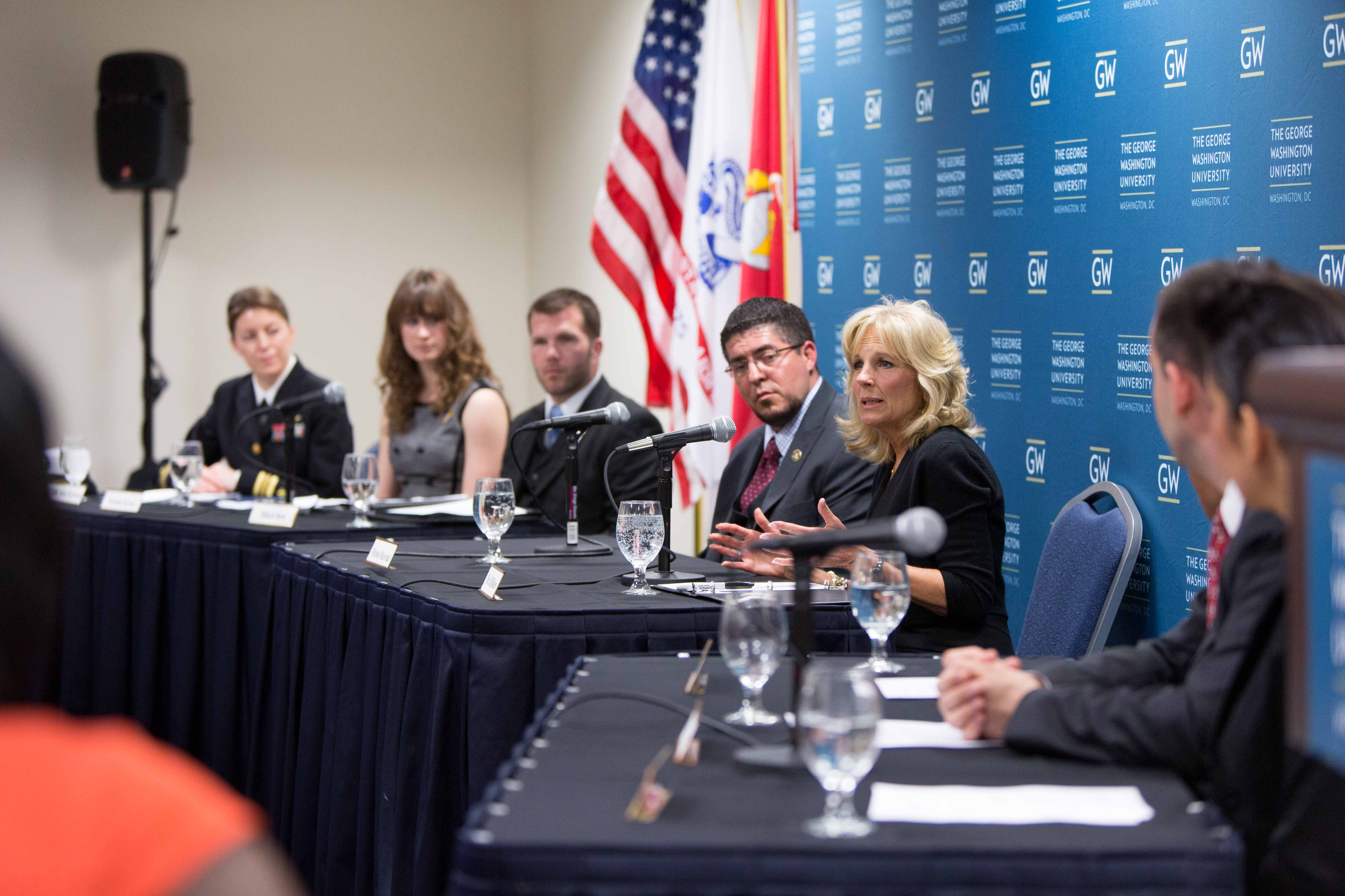 Dr. Biden participates on a panel with student, faculty and staff veterans at George Washington University