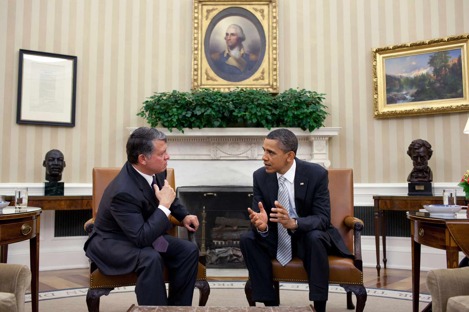 President Barack Obama Meets with King Abdullah of Jordan in the Oval Office