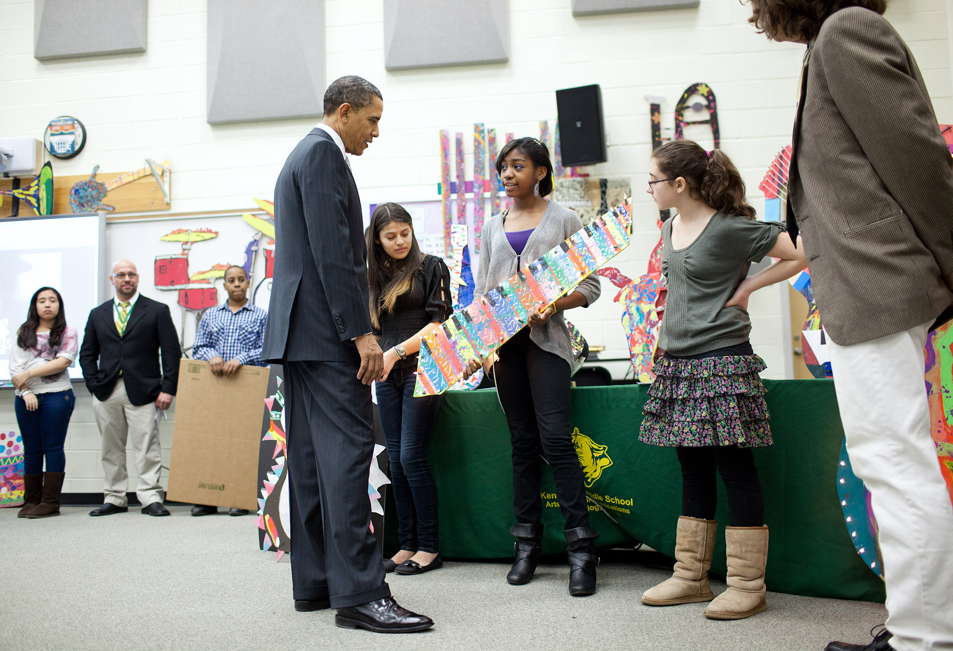 President Barack Obama Listens to Kenmore Middle School Students