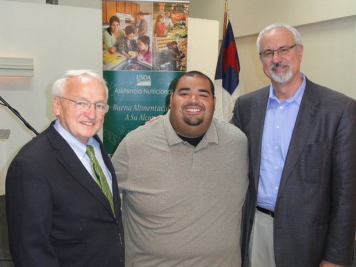 Under Secretary Kevin Concannon (left) meets Senior Pastor Joseito Velasquez, Healing Waters Family Center (center) and Dr. Danny Carroll, a board member of the National Hispanic Christian Leadership Conference.
