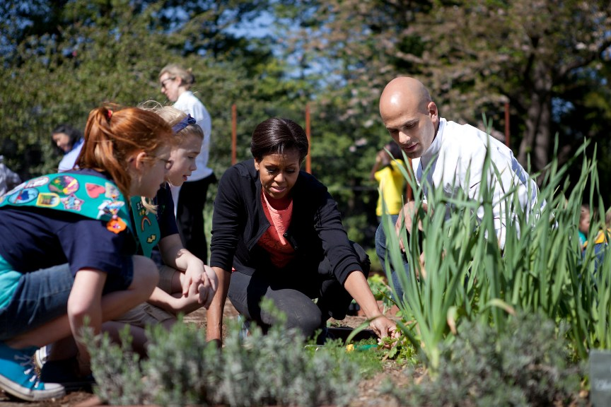 First Lady and Sam Kass join students for the spring White House Kitchen Garden planting on the South Grounds