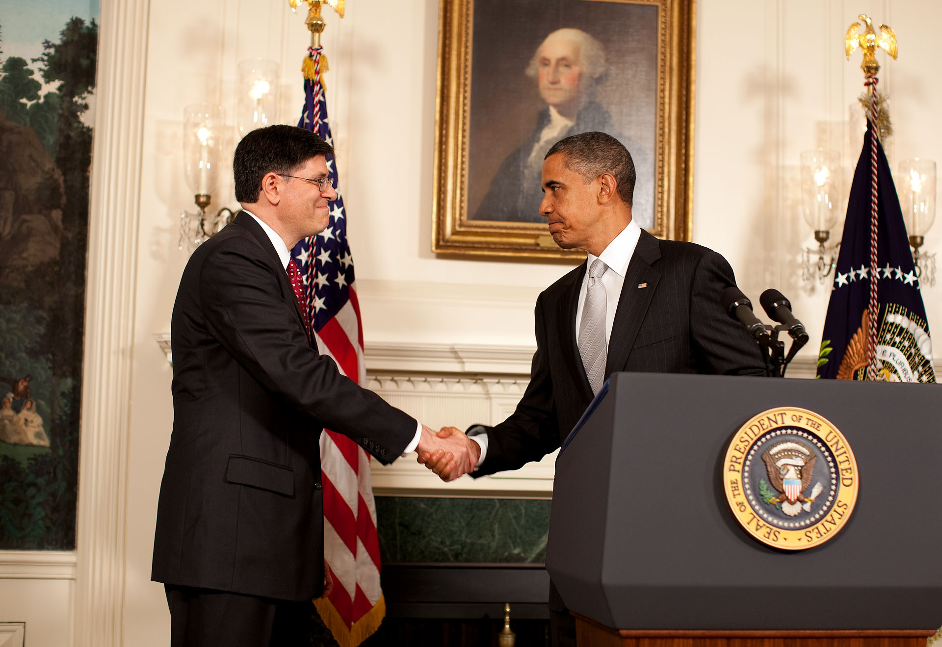 President Obama Shakes Hand with Jacob Lew, His Nominee for OMB Director