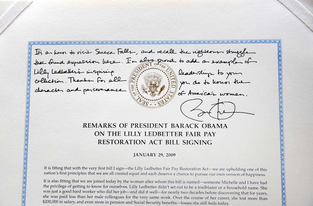 President Barack Obama's inscription on his Lilly Ledbetter Fair Pay Restoration Act Bill