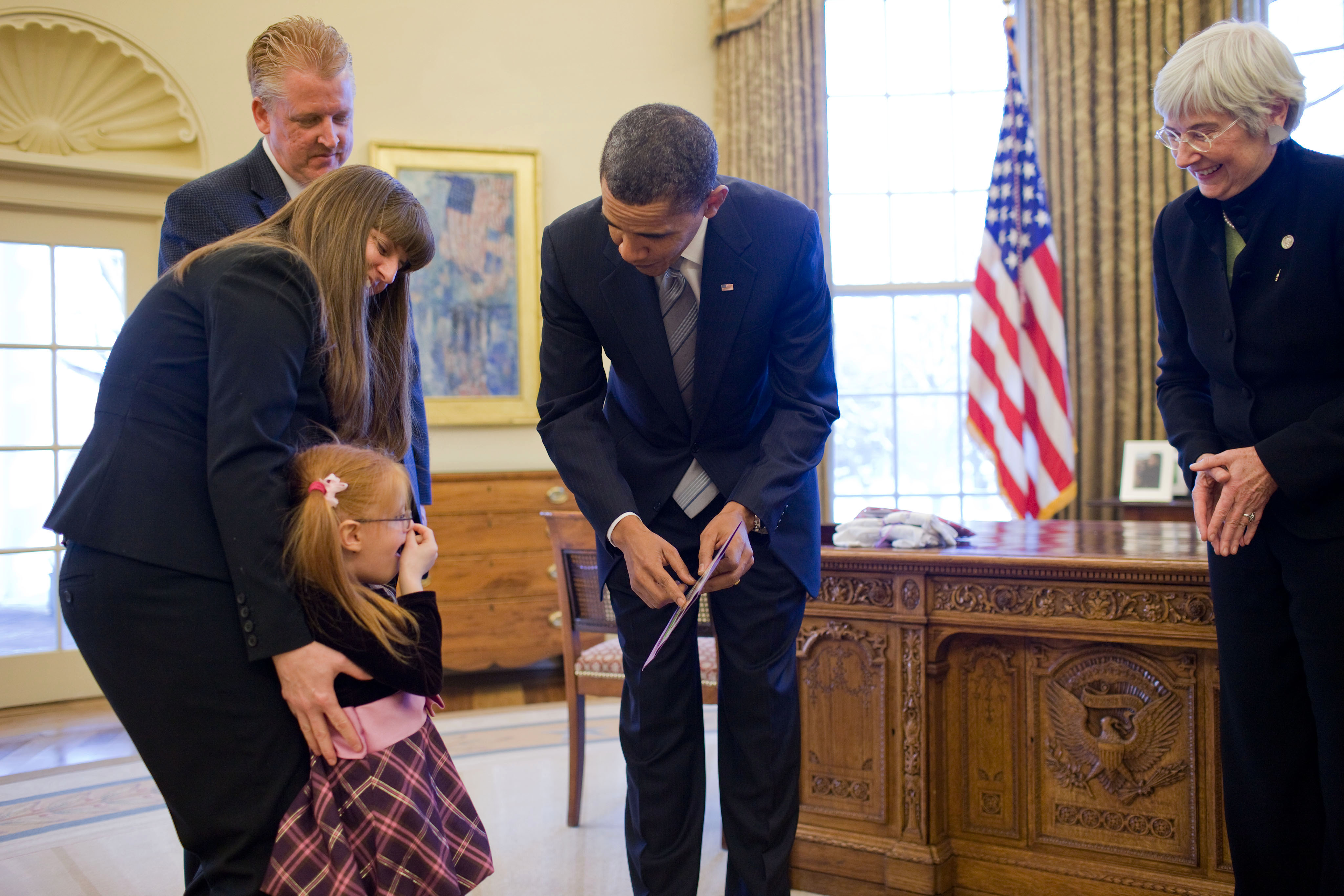 The President greets March Of Dimes ambassador families