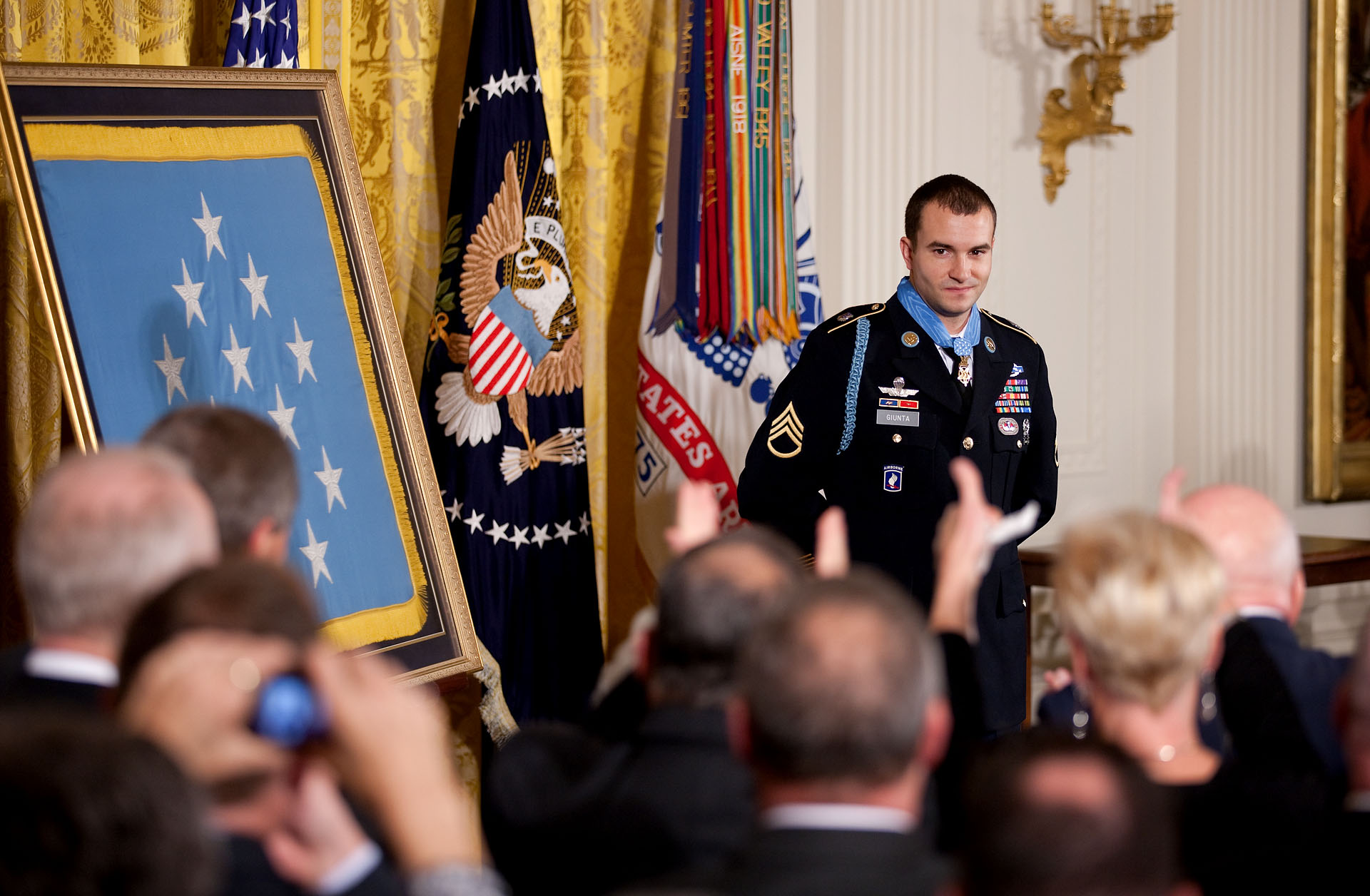 Staff Sergeant Salvatore Giunta is Recognized by the Audience after Receiving the Medal of Honor