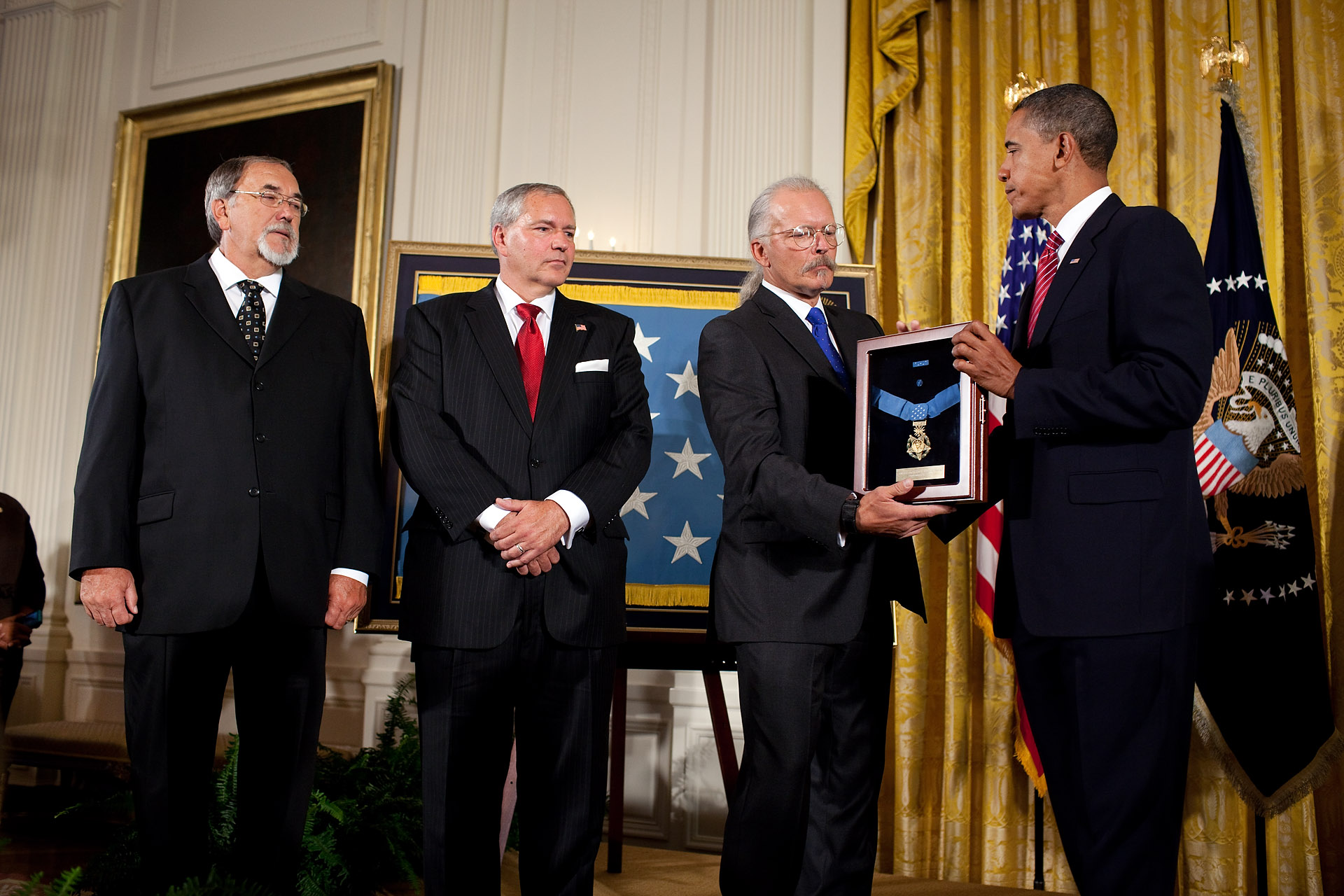 The President Awards Chief Master Sergeant Richard L. Etchberger, U.S. Air Force, the Medal of Honor