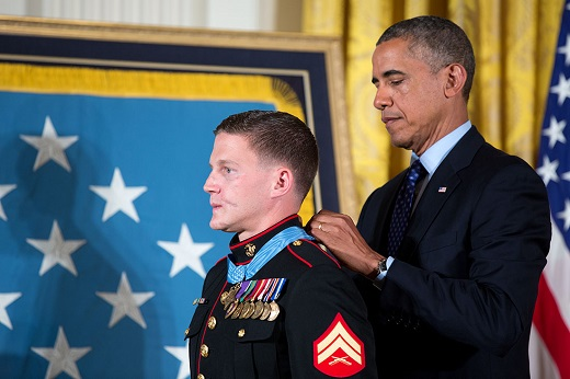 President Barack Obama awards the Medal of Honor to Corporal William
