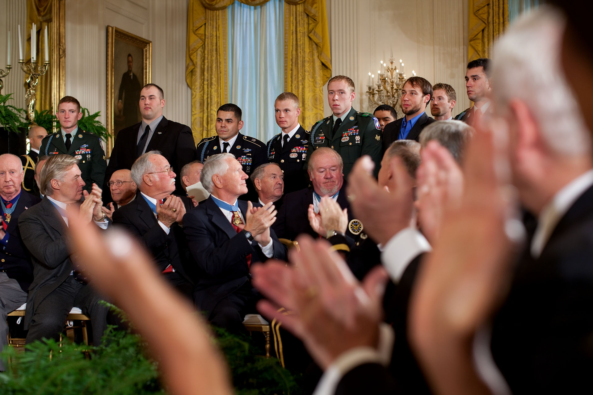 Applause for Members of Army Staff Sgt. Salvatore Giunta's Unit