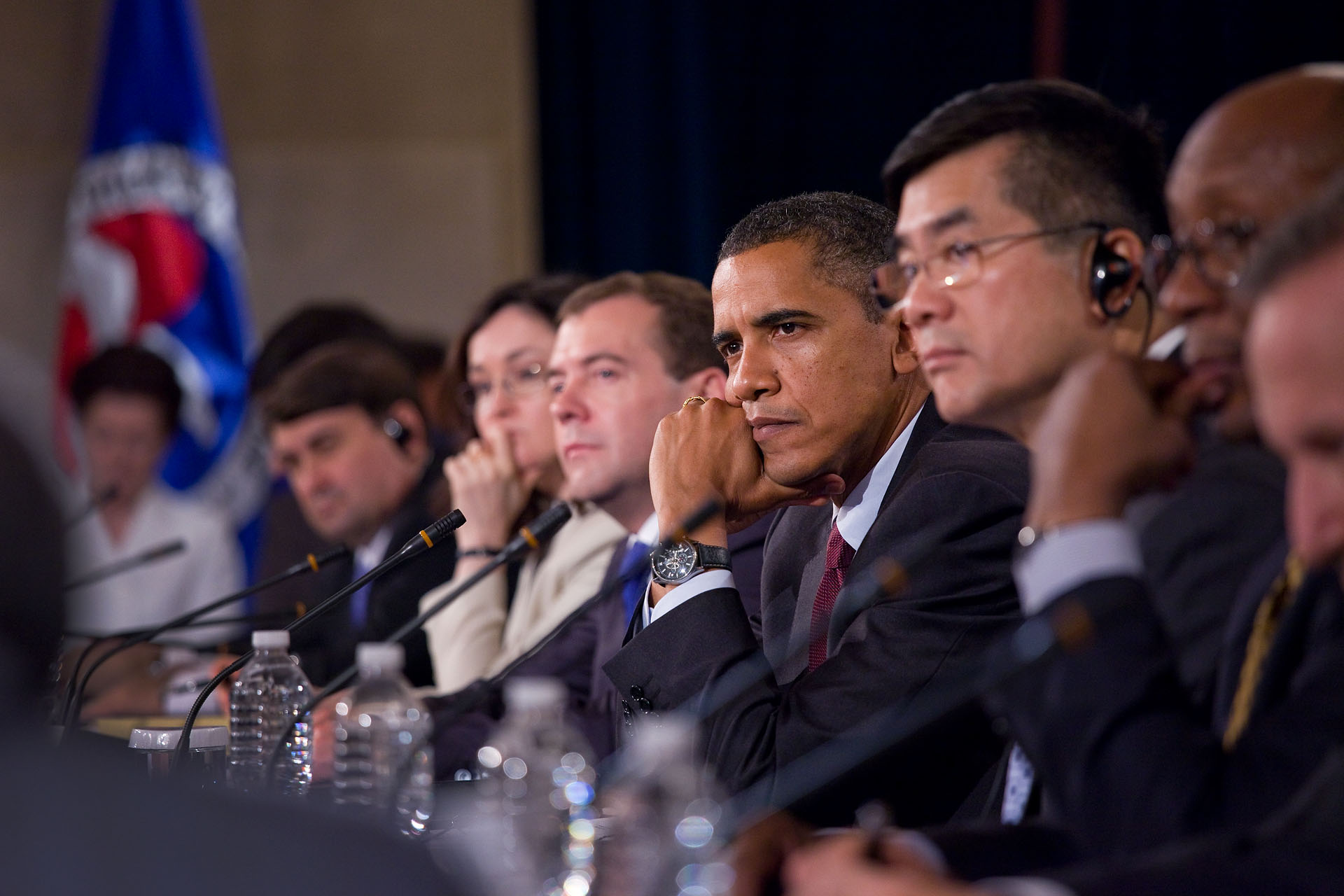President Barack Obama and President Dmitry Medvedev of Russia at the U.S.–Russia Business Summit