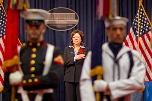 Secretary Solis honors the men and women of the United States military.