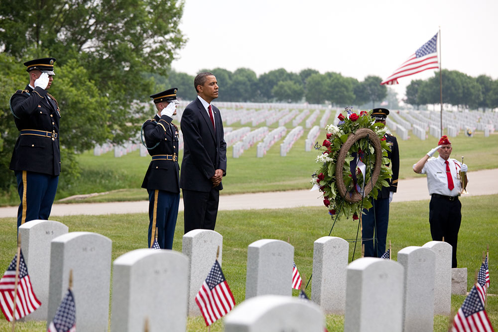 President Obama Lays a Wreath at Abraham Lincoln National Cemetery
