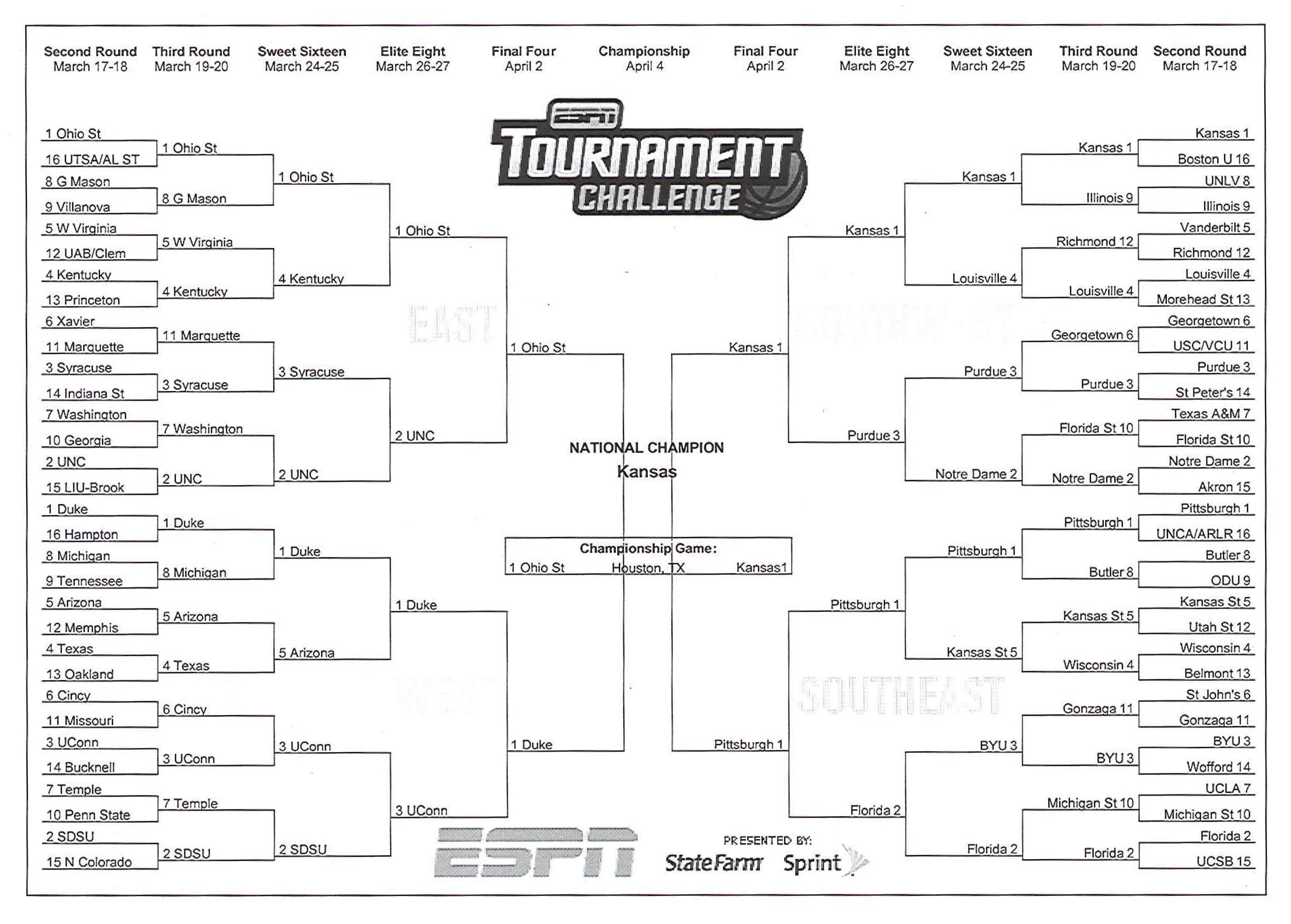 President Obama's 2011 Men's NCAA Basketball Tournament Brackets