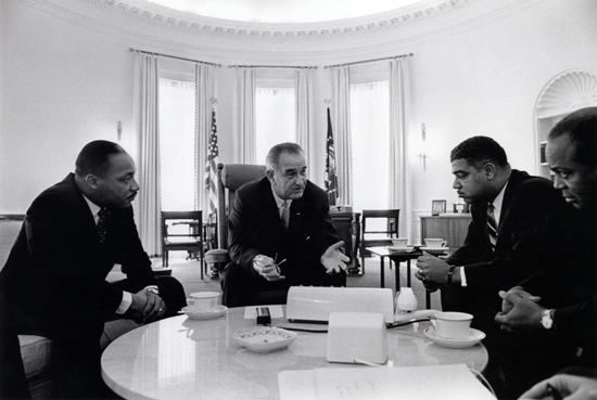 President Lyndon B. Johnson meets with Civil Rights leaders in the Oval Office