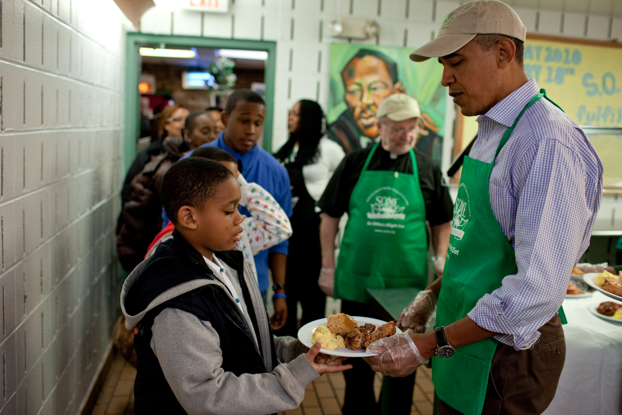The President At So Others Might Eat On Martin Luther King Day